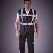 Hi-vis polycotton cargo trousers with knee pad pockets (HV018T/3M)